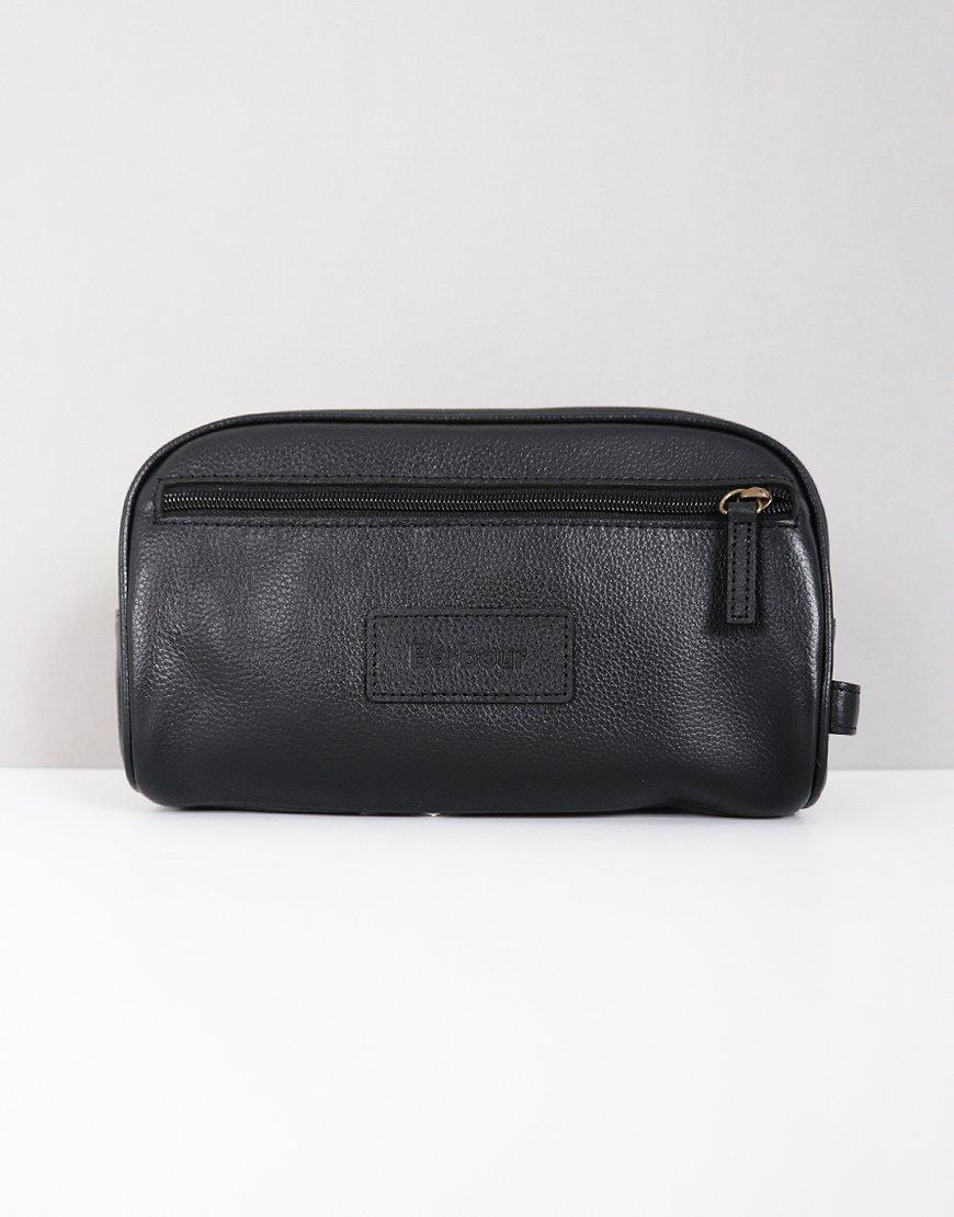 Barbour Leather Washbag Black