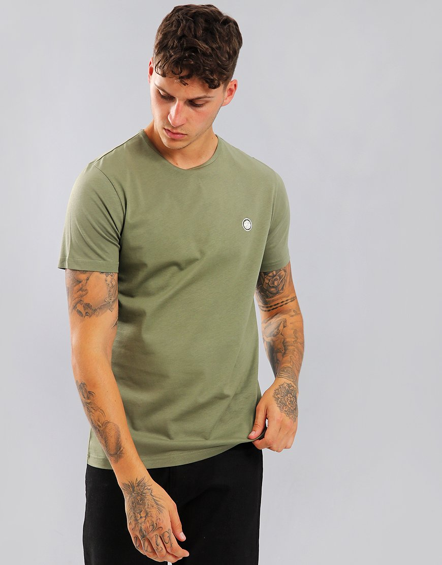 Pretty Green Short Sleeved Mitchell Logo T-Shirt Khaki