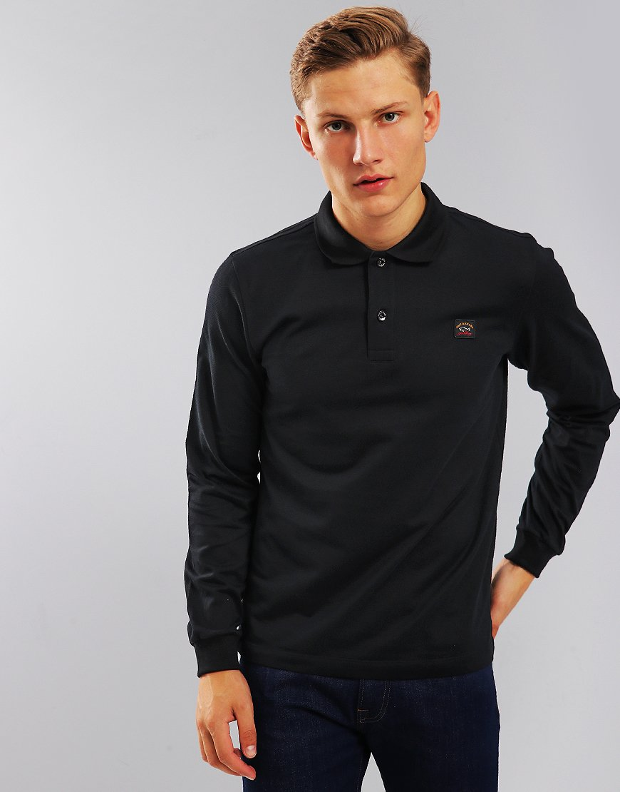 Paul & Shark Long Sleeve Polo Shirt Black