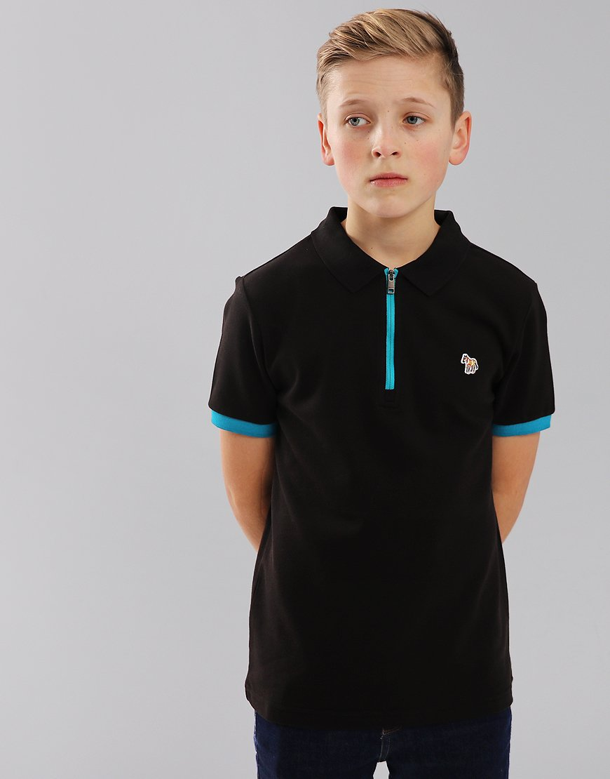 Paul Smith Junior Rossi Zip Polo Shirt Black Terraces Menswear