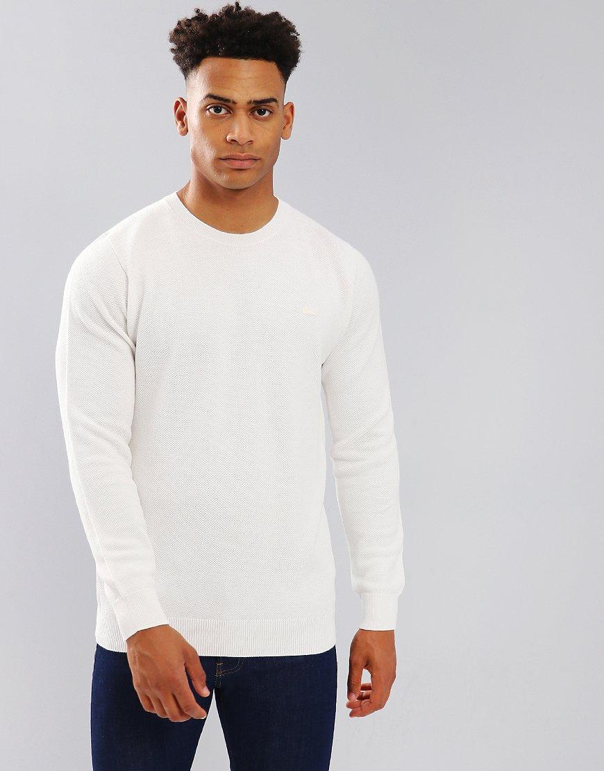 Lacoste Crew Neck Cotton Piqué Sweater Flour