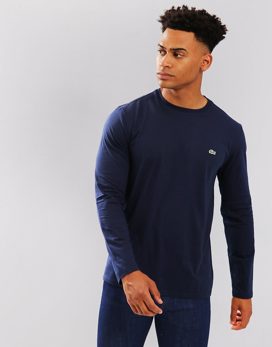Lacoste Pima Cotton Crew Neck Jersey T-shirt Navy