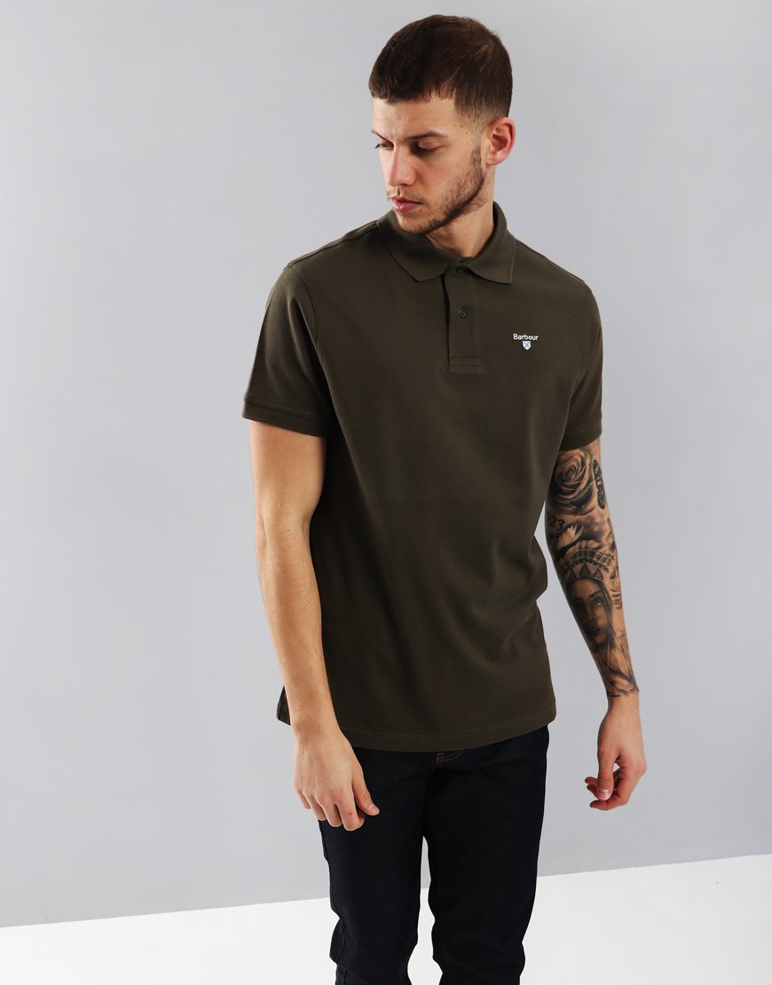 Barbour Sports Polo Shirt Dark Olive