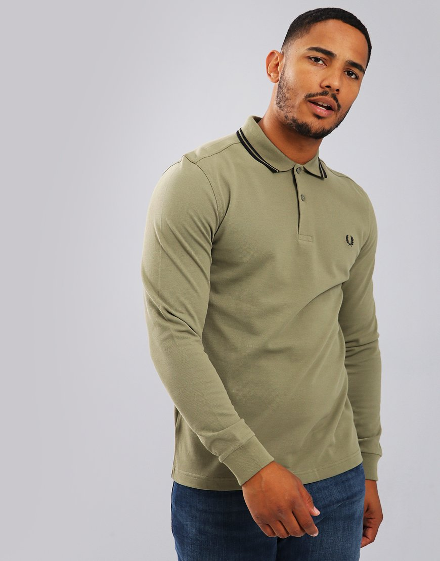 Fred Perry Twin Tipped Long Sleeved Polo Shirt Olive/Black