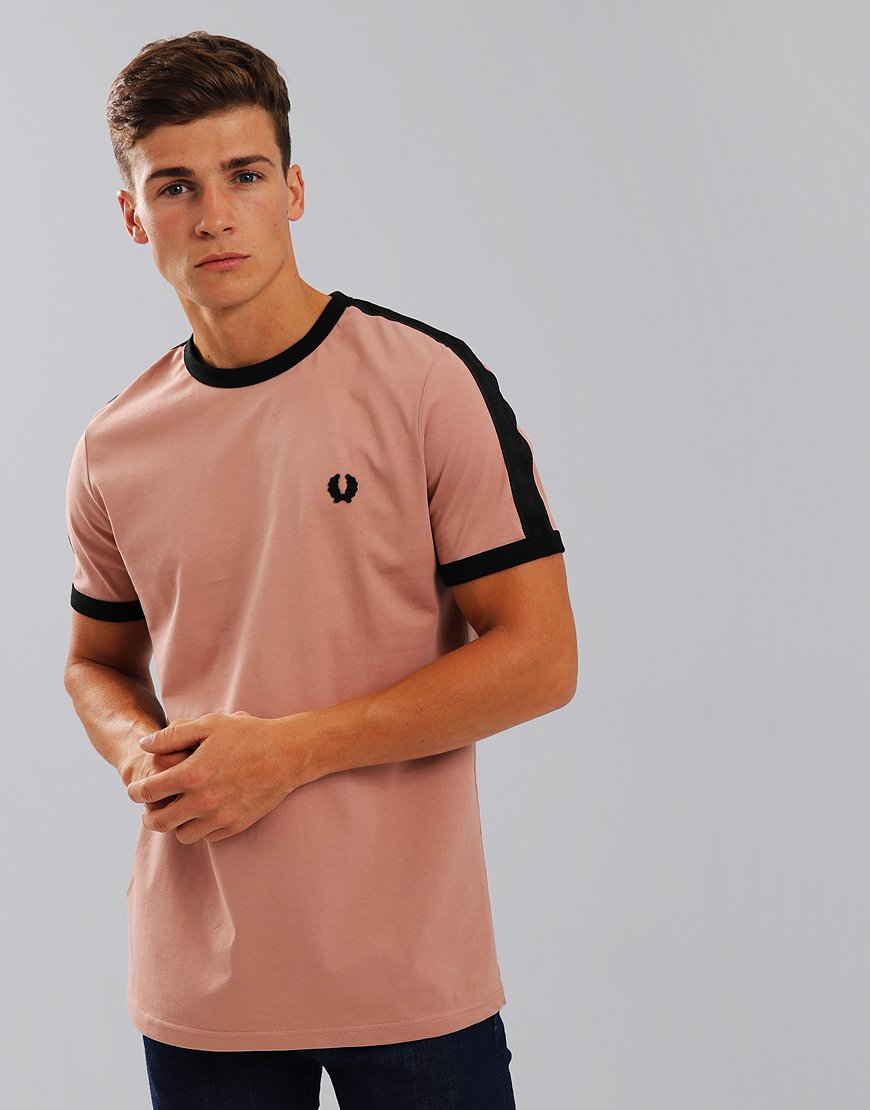 Fred Perry Tonal Taped Ringer T-Shirt Grey Pink