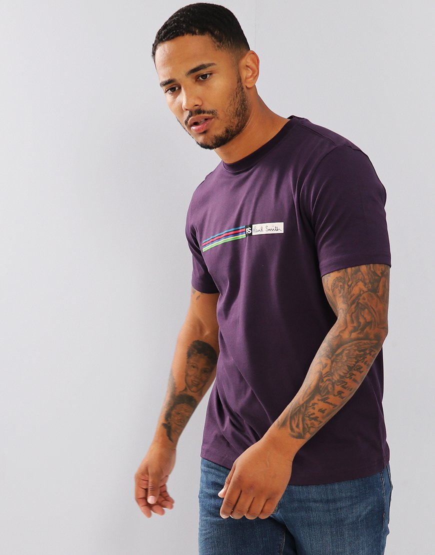 Paul Smith Cycle Stripe Logo T-Shirt Violet