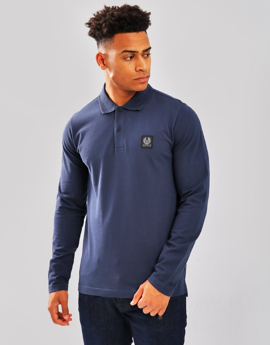 Belstaff Selbourne Long Sleeve Polo Shirt Navy