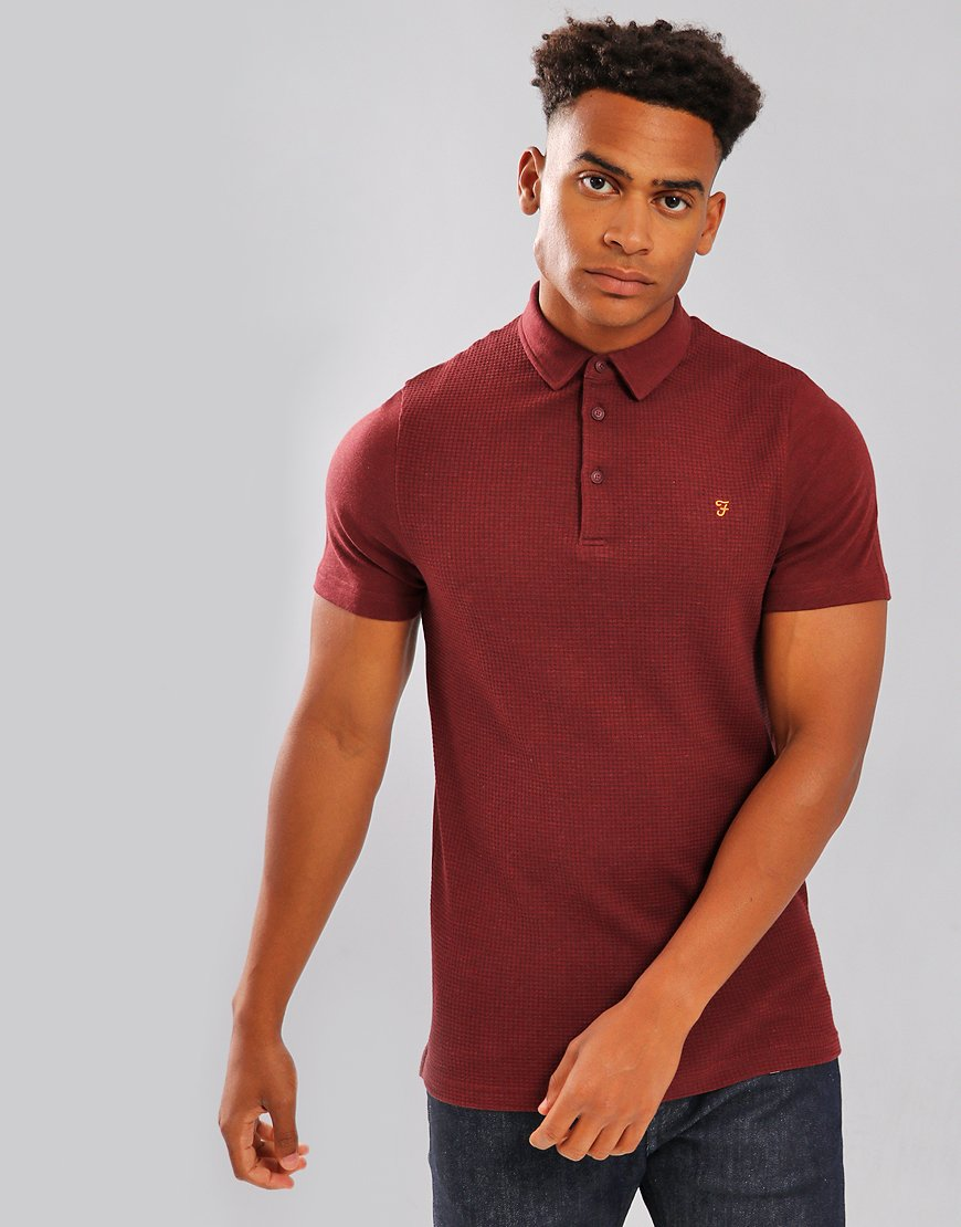 Farah Pendleton Polo Shirt Red Marl