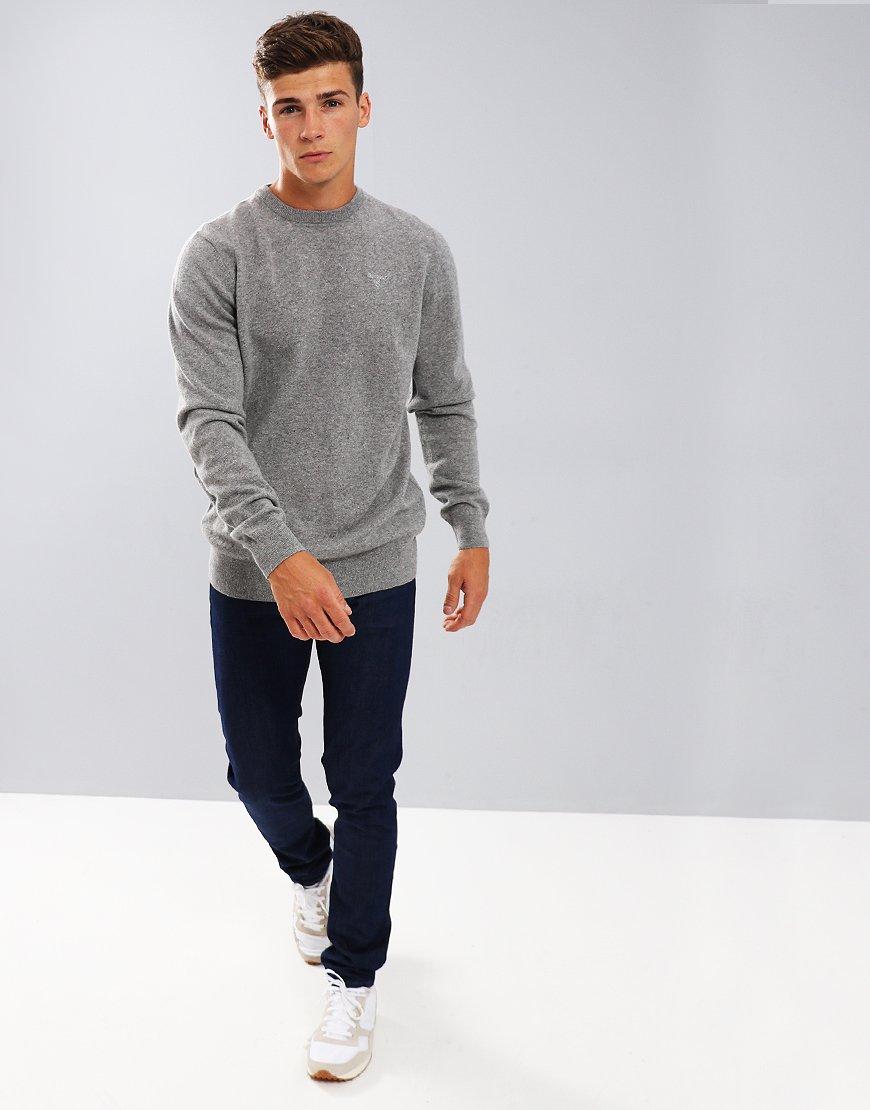 Barbour Essential Lambswool Crew Neck Knit Grey
