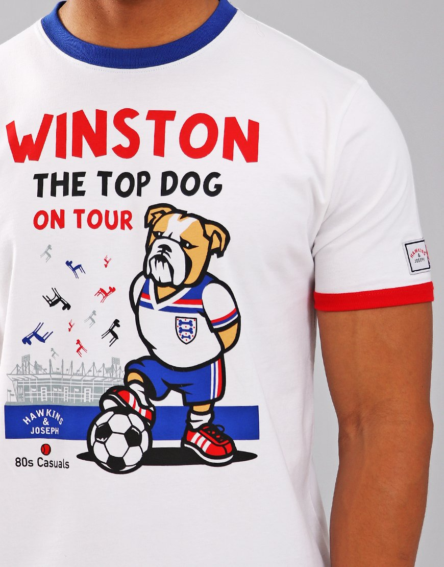 Eighties Casuals x Hawkins and Joseph 'Winston On Tour' White Ringer T-Shirt