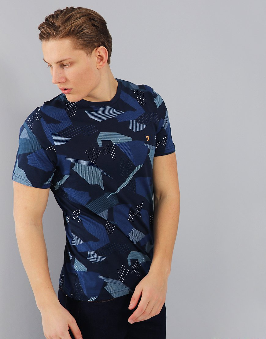 26ba00e6 Farah Northenden Camo Print T-Shirt Yale Blue - Terraces Menswear