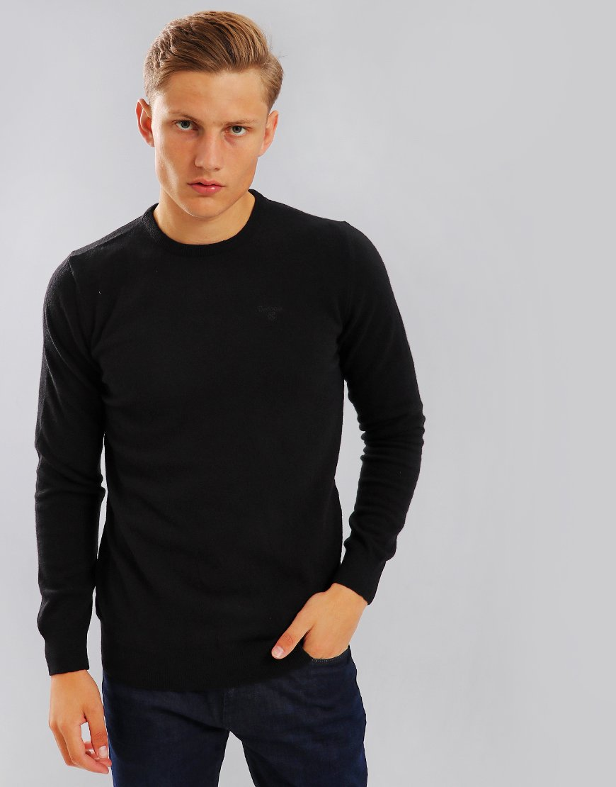 Barbour Essential Lambswool Crew Neck Black