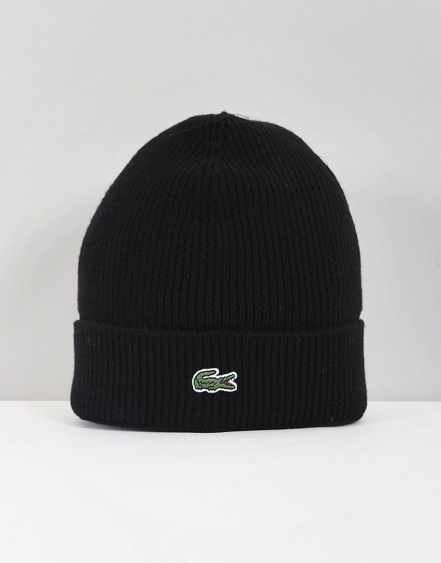 Lacoste Ribbed Cuff Beanie Black