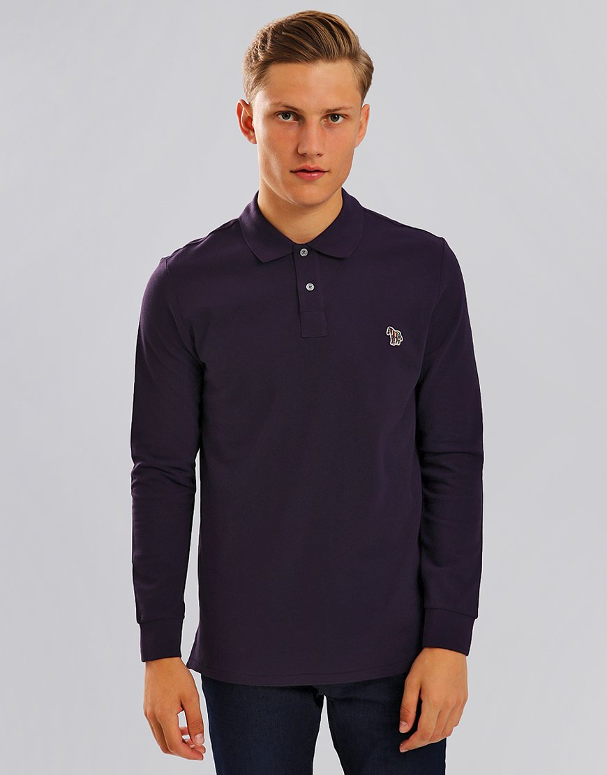 Paul Smith Long Sleeve Polo Shirt Violet