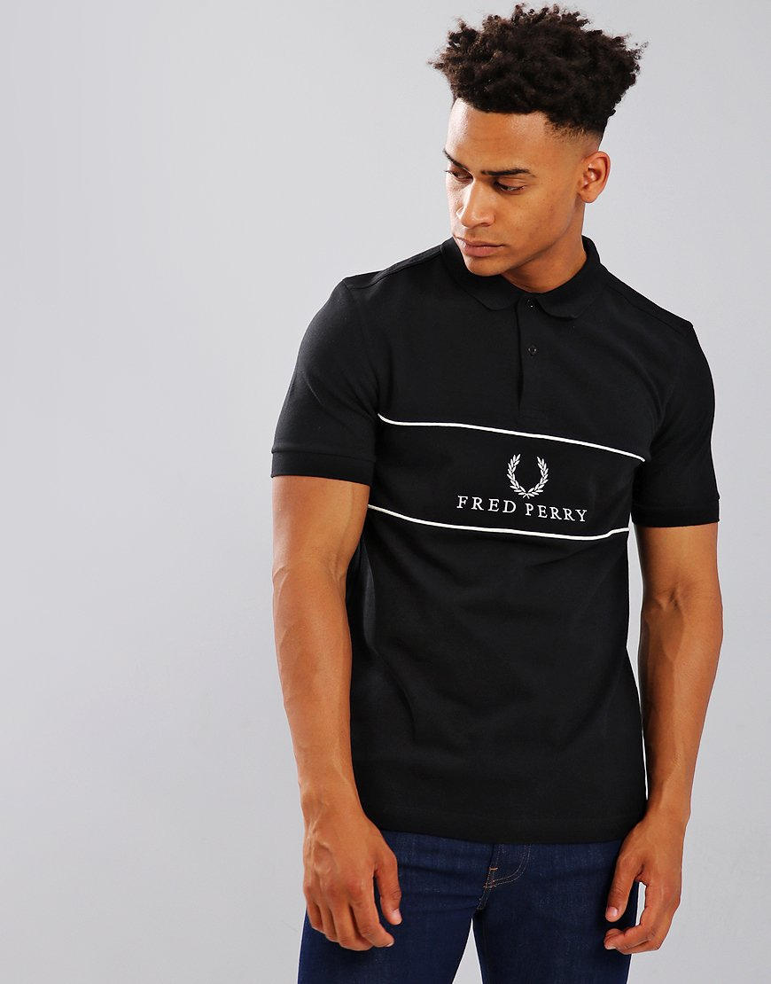 Fred Perry Panel Piped Piqué Polo Shirt Black