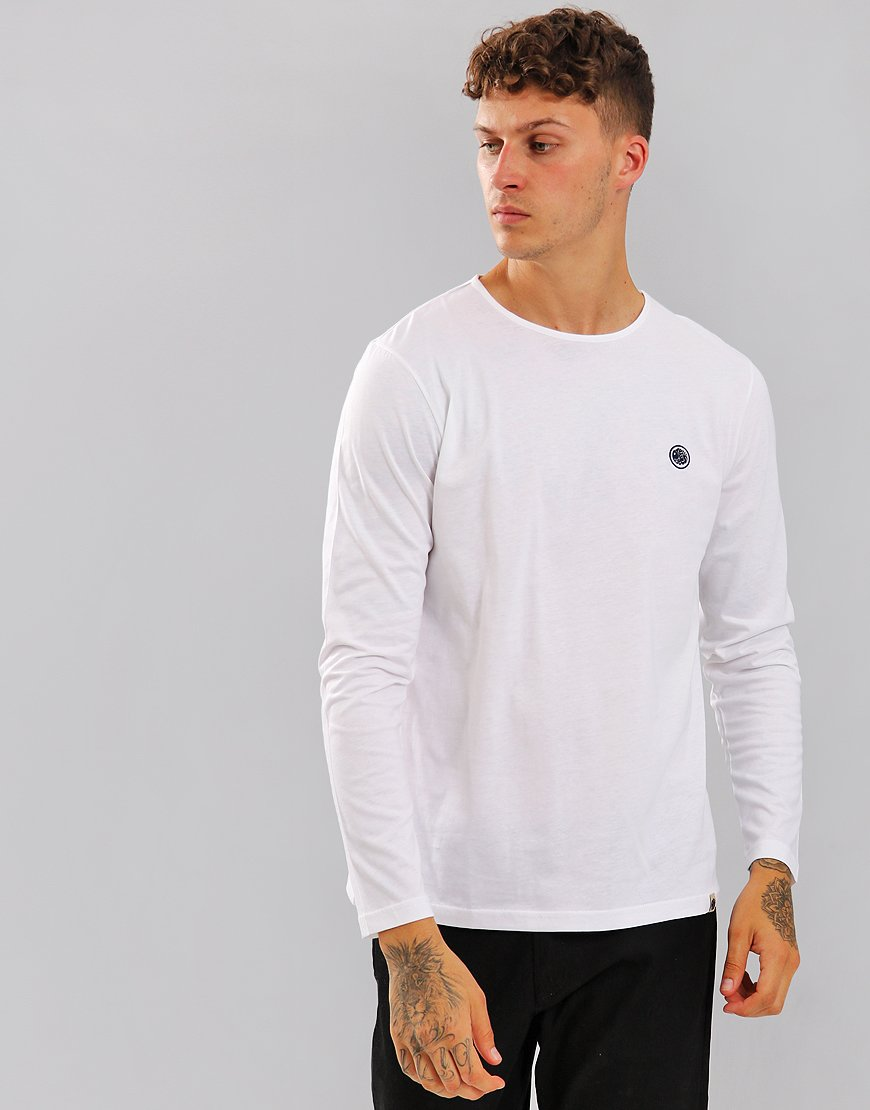 Pretty Green Long Sleeved Mitchell Logo T-Shirt White