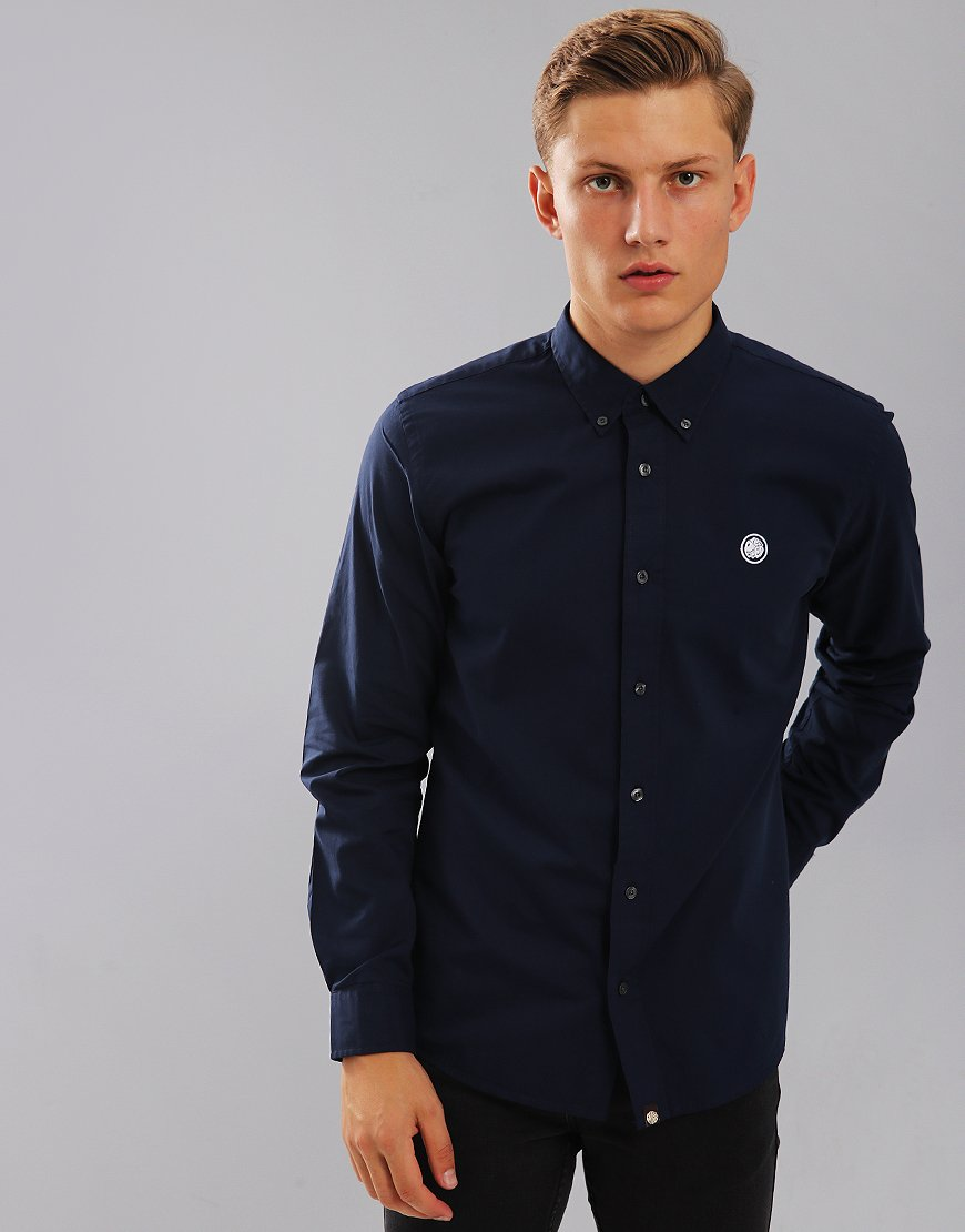 Pretty Green Long Sleeve Sterling Shirt Navy