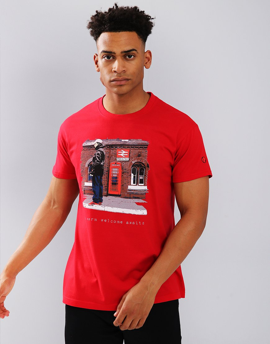 Eighties Casuals Stoke Station T-Shirt Bright Red