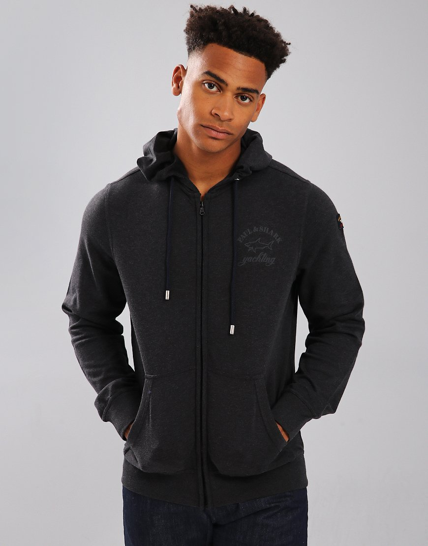 Paul & Shark Blouson Hooded Zip Sweatshirt Charcoal