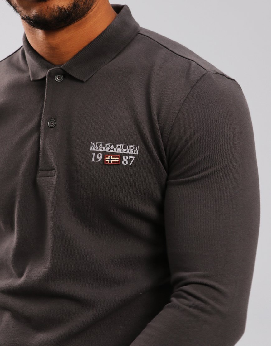 Napapijri Long Sleeve Erthow Polo Shirt Dark Grey Solid