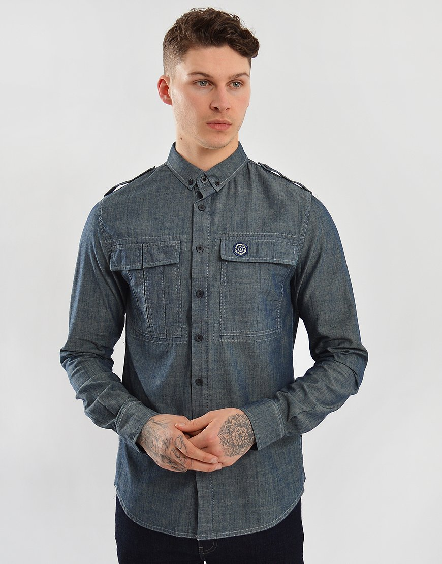 Nicholas Deakins Elemental Long Sleeved Shirt Navy
