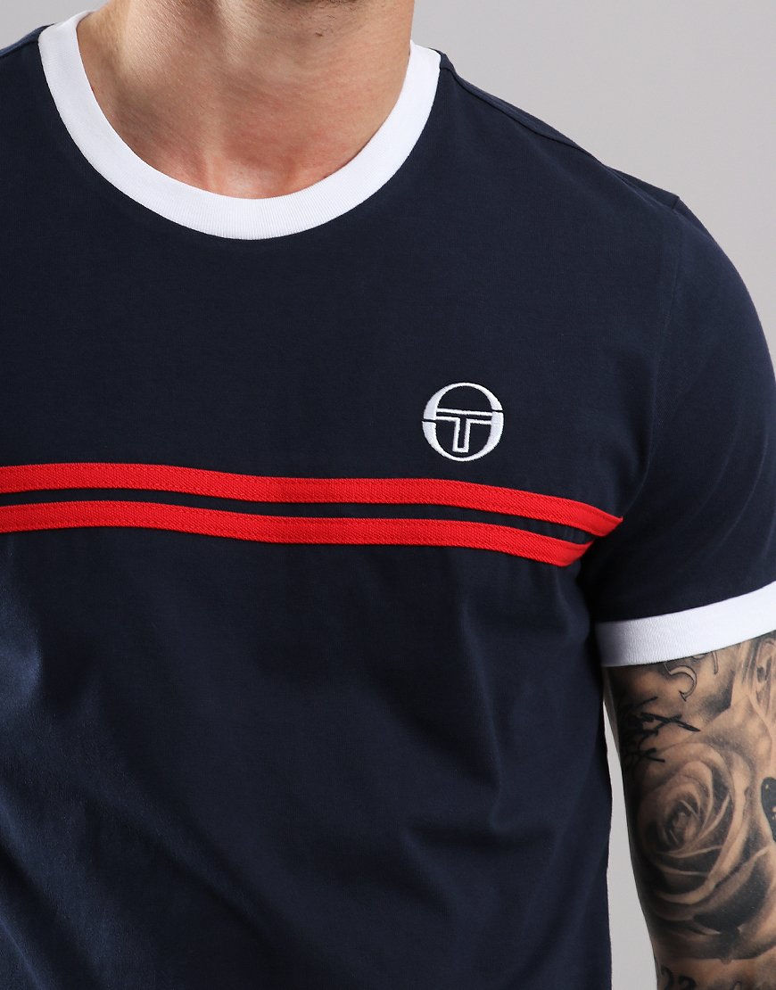7184b167a Sergio Tacchini Supermac 3 T-Shirt Navy/Red