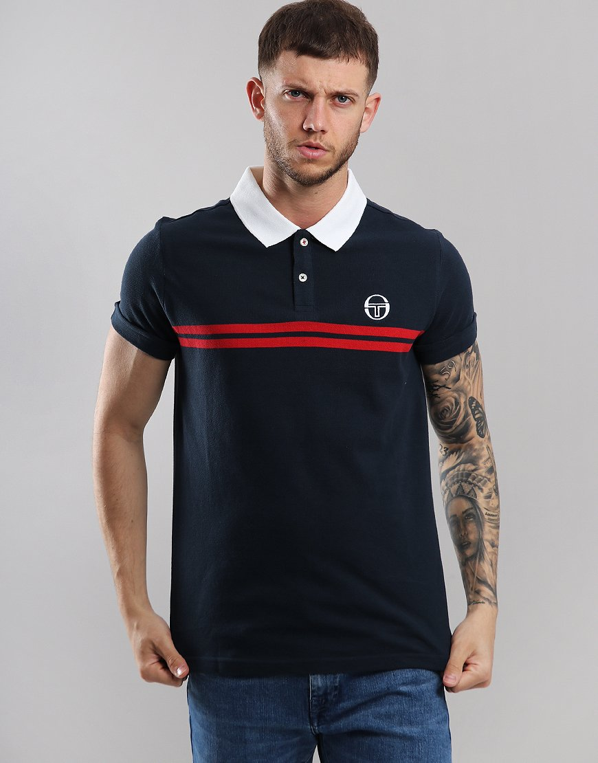 Sergio Tacchini Supermac Polo Shirt Navy/Red