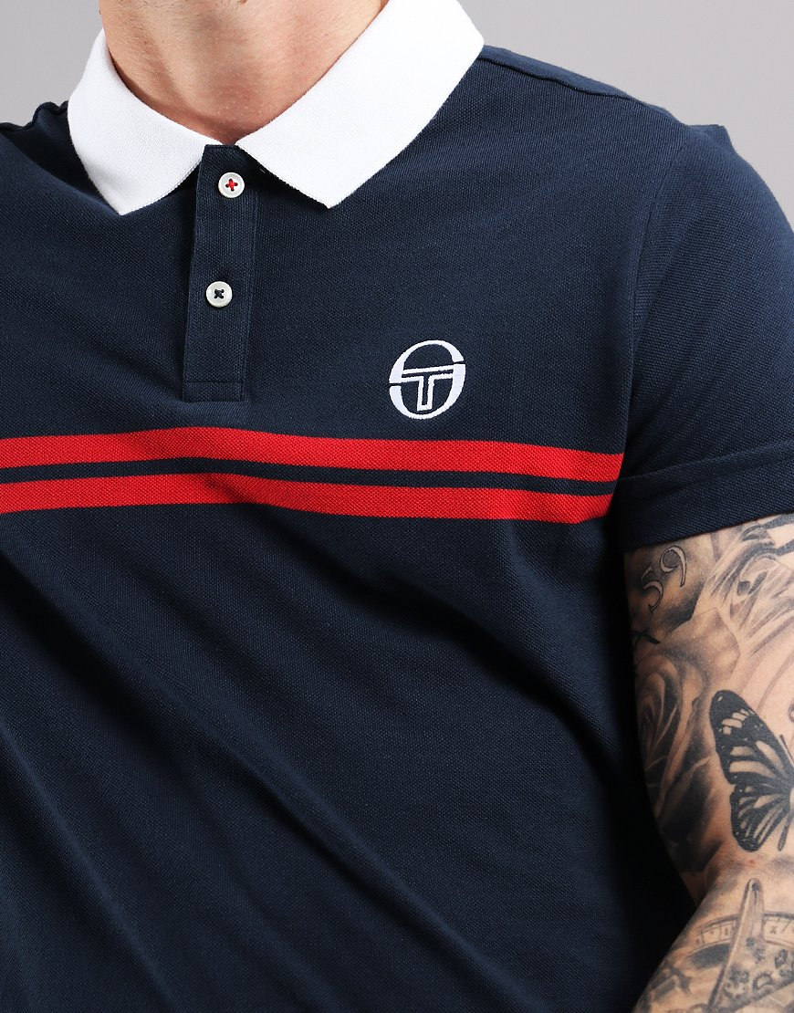 92584b06 Sergio Tacchini Supermac Polo Shirt Navy/Red - Terraces Menswear