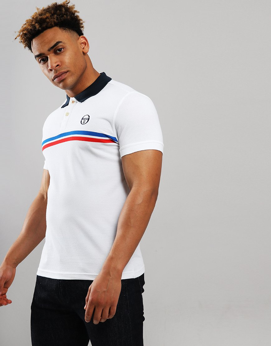Sergio Tacchini Supermac Polo Shirt White/Royal/Red