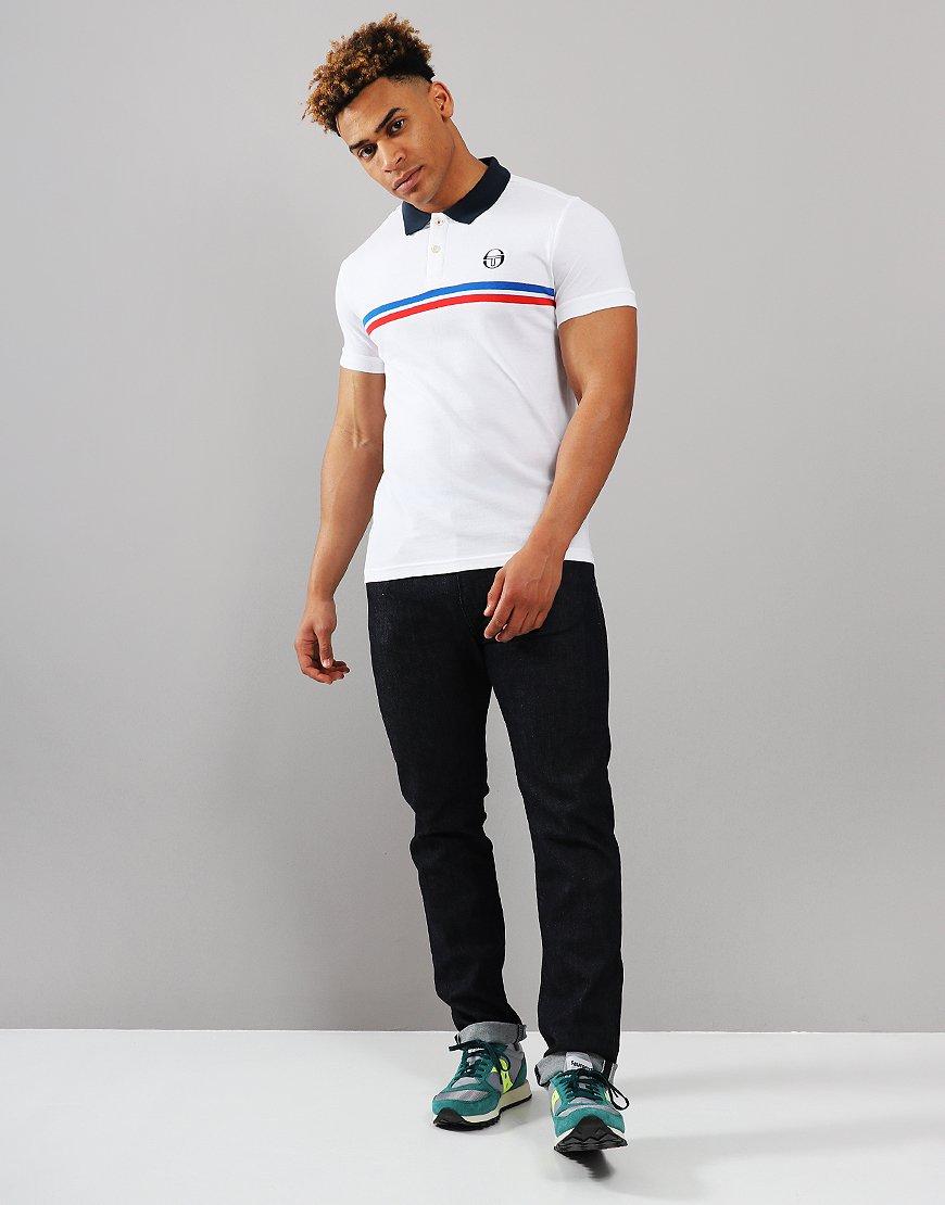 55a13d186 Sergio Tacchini Supermac Polo Shirt White/Royal/Red