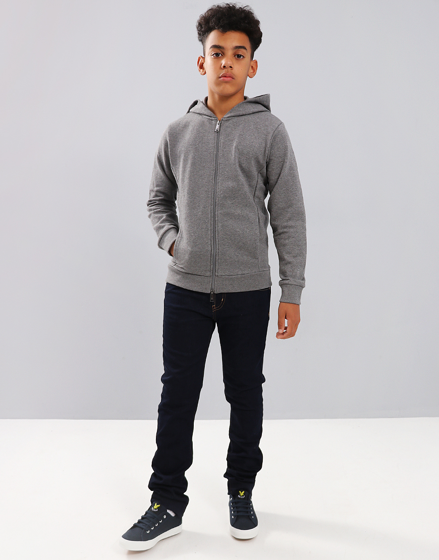 Armani Junior Full Zip Hoodie Medium Grey