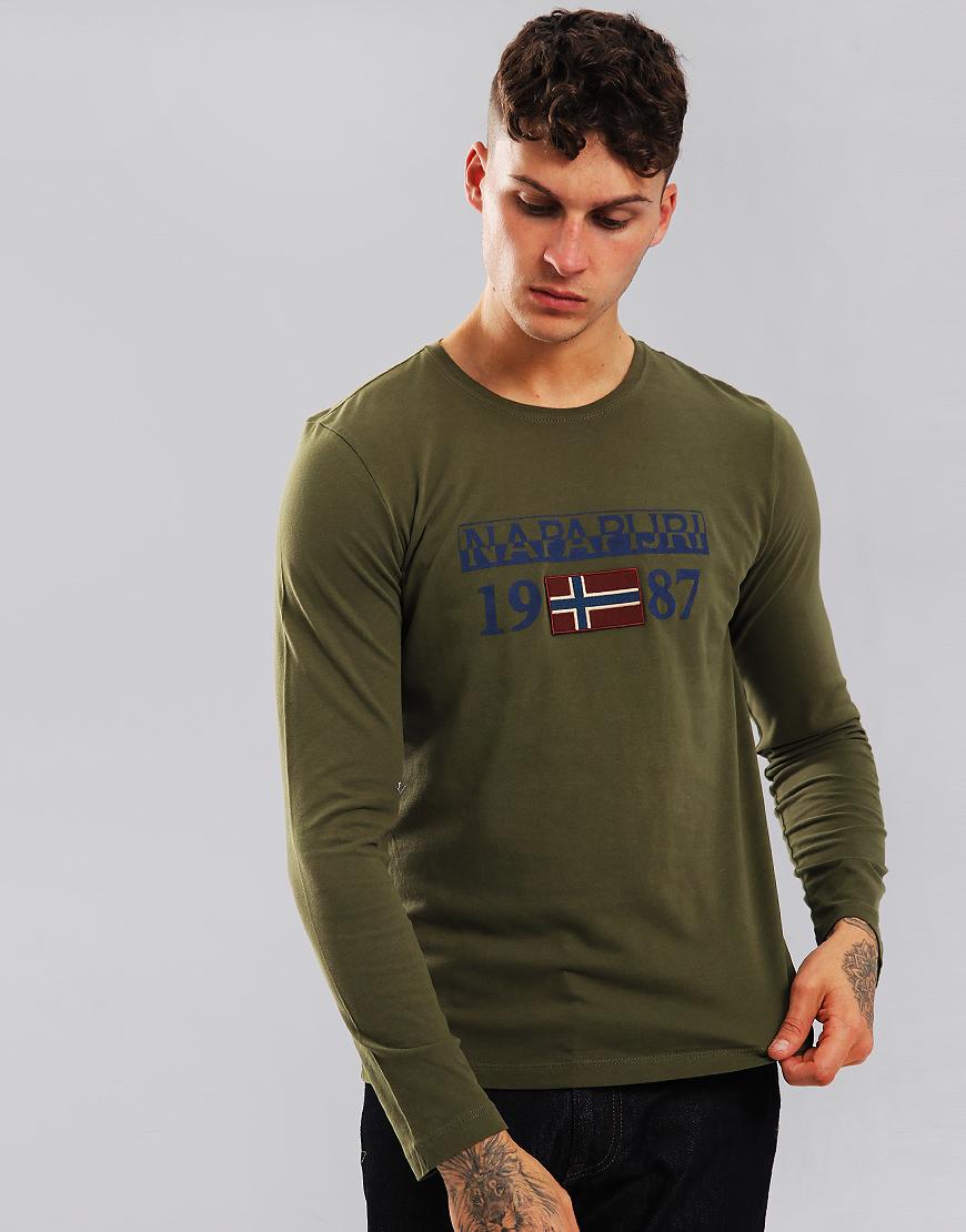 Napapijri Solin Long Sleeve T-Shirt Green Musk