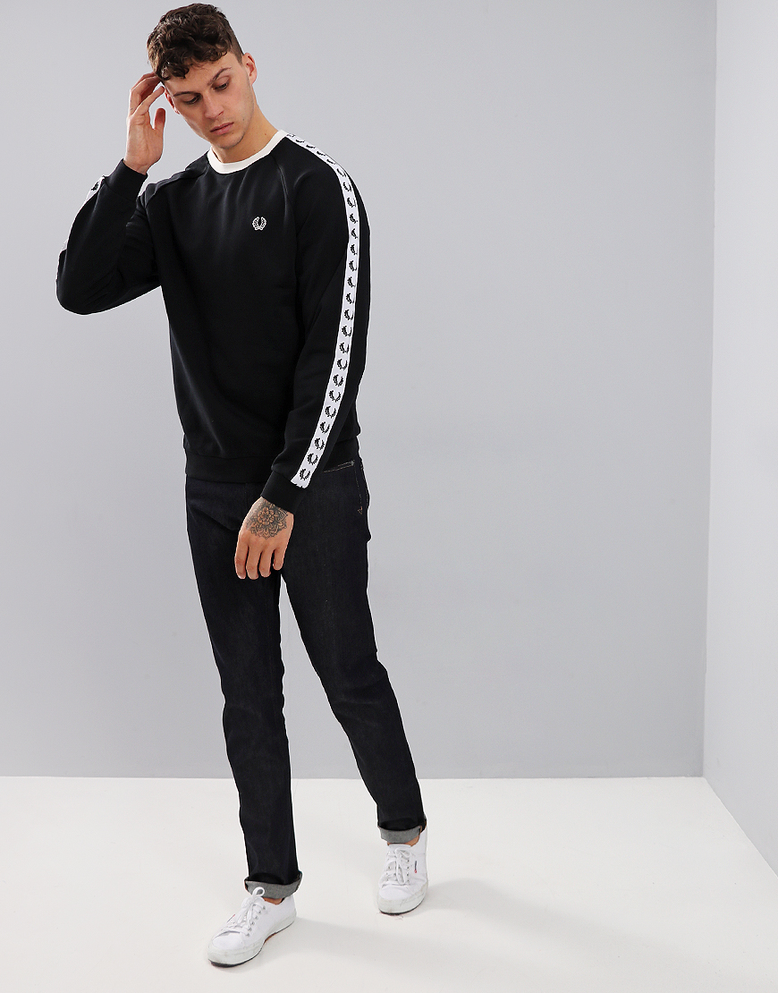 Fred Perry Taped Crew Neck Sweatshirt Black