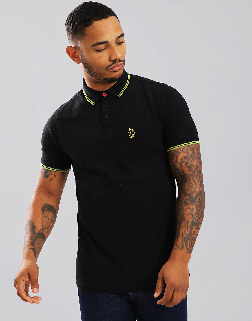 Luke 1977 Tip Off Polo Shirt Black Sulpher