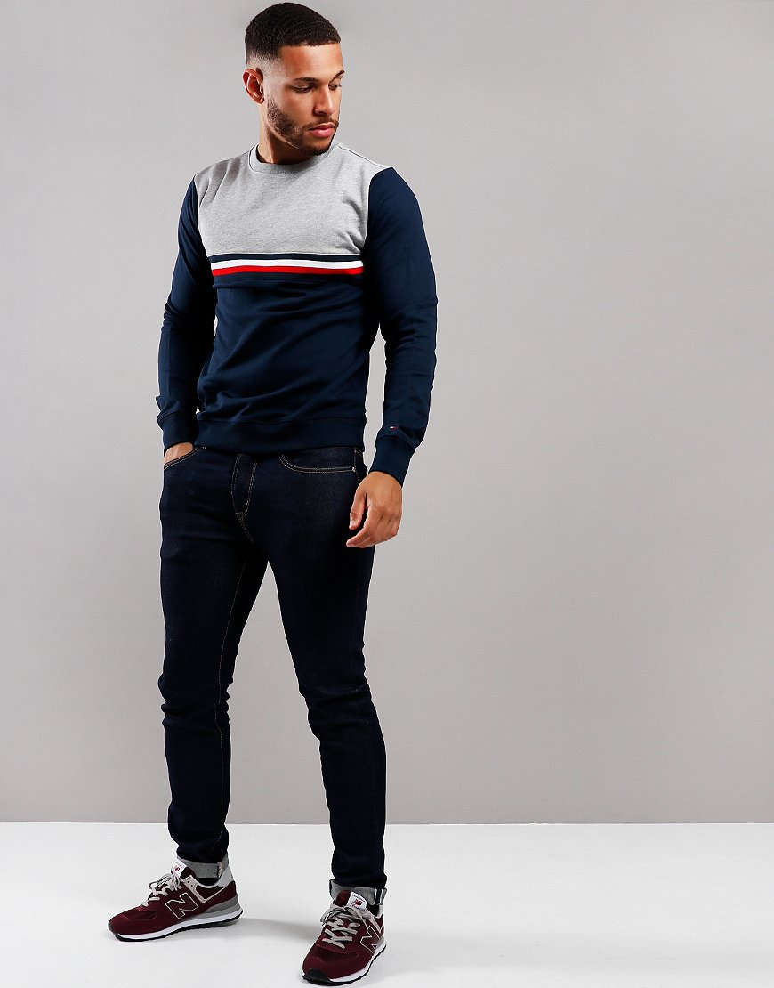 design distintivo vasta selezione di carino e colorato Tommy Hilfiger Colour Block Sweat Sky Captain - Terraces Menswear