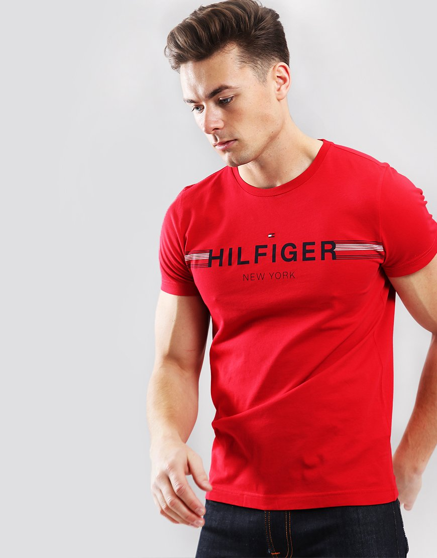 b0bb5559 Tommy Hilfiger Corp Flag T-shirt Haute Red