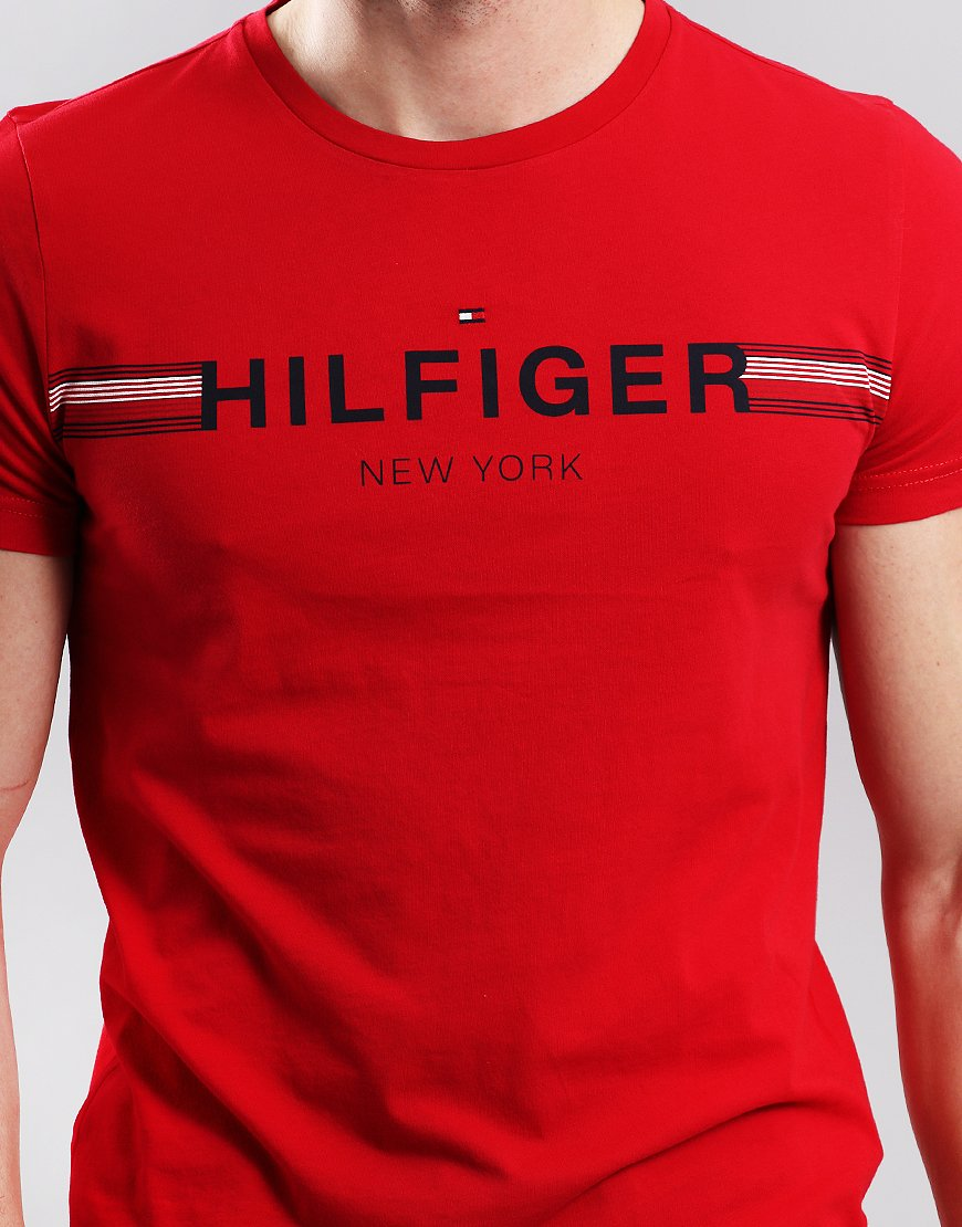 bbd6e475 Tommy Hilfiger Corp Flag T-shirt Haute Red - Terraces Menswear