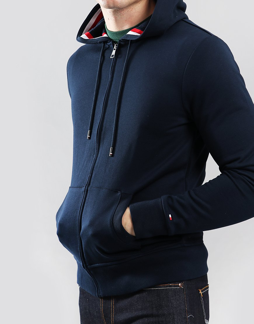 efb5fbe8 Tommy Hilfiger Signature Tape Zip Through Hoody Sky Captain ...