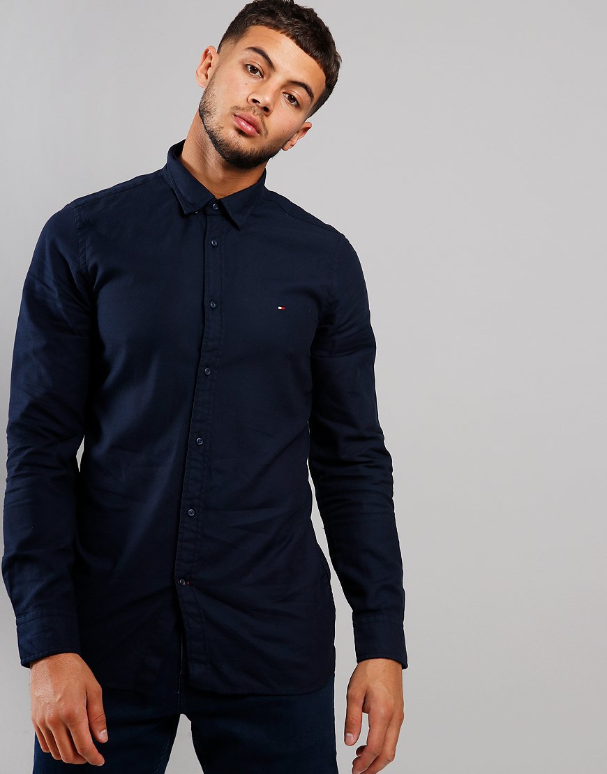 Tommy Hilfiger Dobby Long Sleeve Shirt Navy Blazer