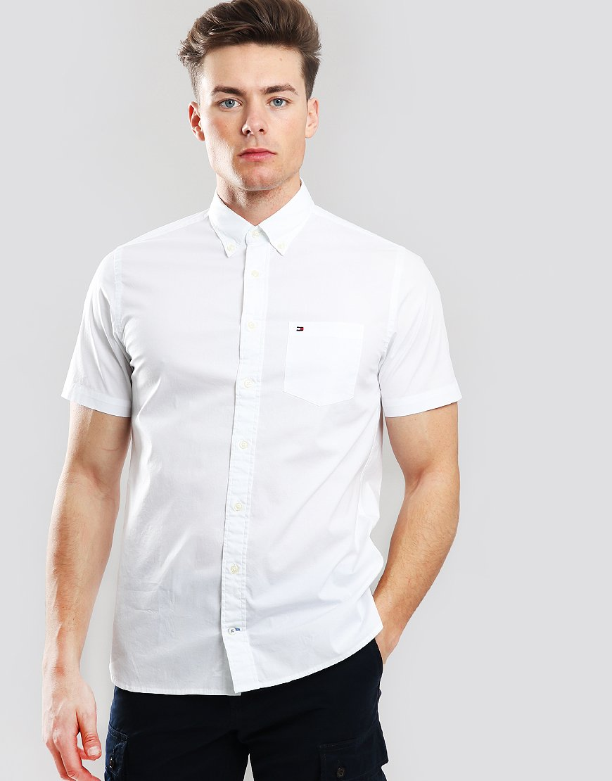9f6e52a67 Tommy Hilfiger Stretch Cotton Poplin Shirt Bright White - Terraces Menswear