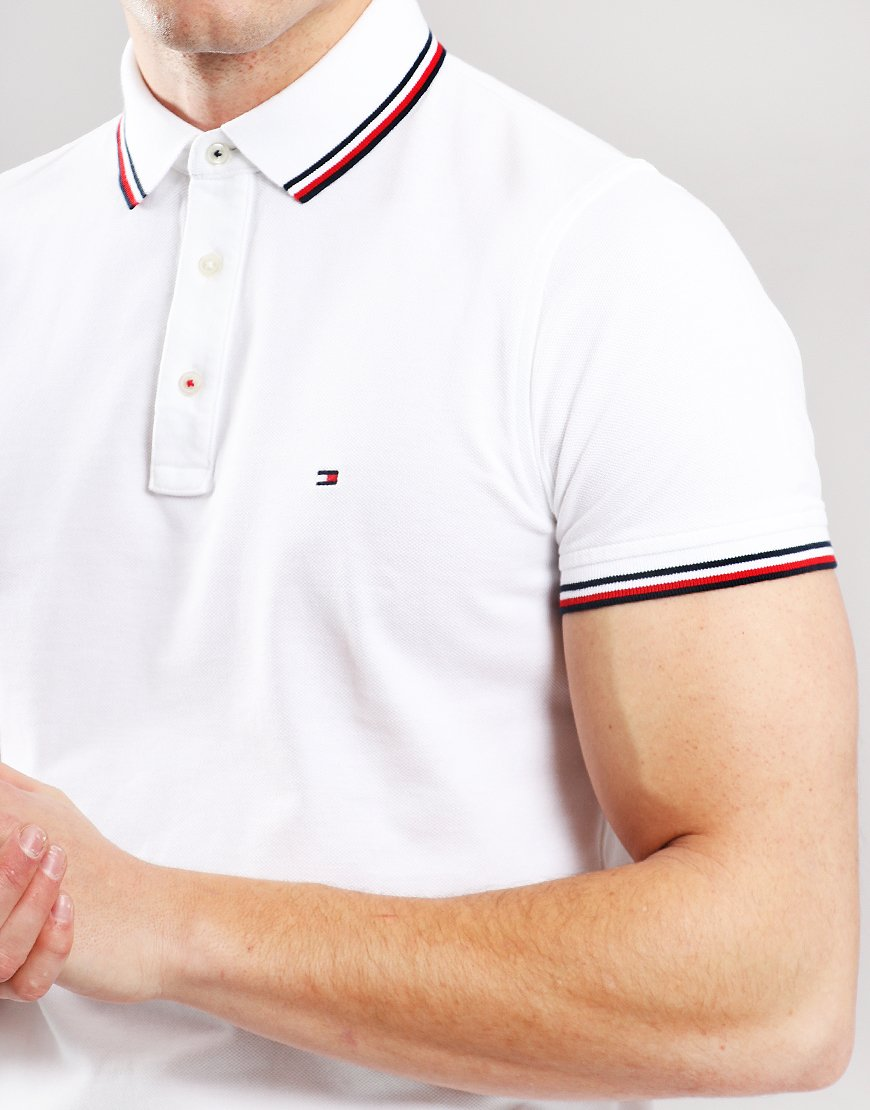 524966ff Tommy Hilfiger Tipped Polo Shirt Bright White - Terraces Menswear