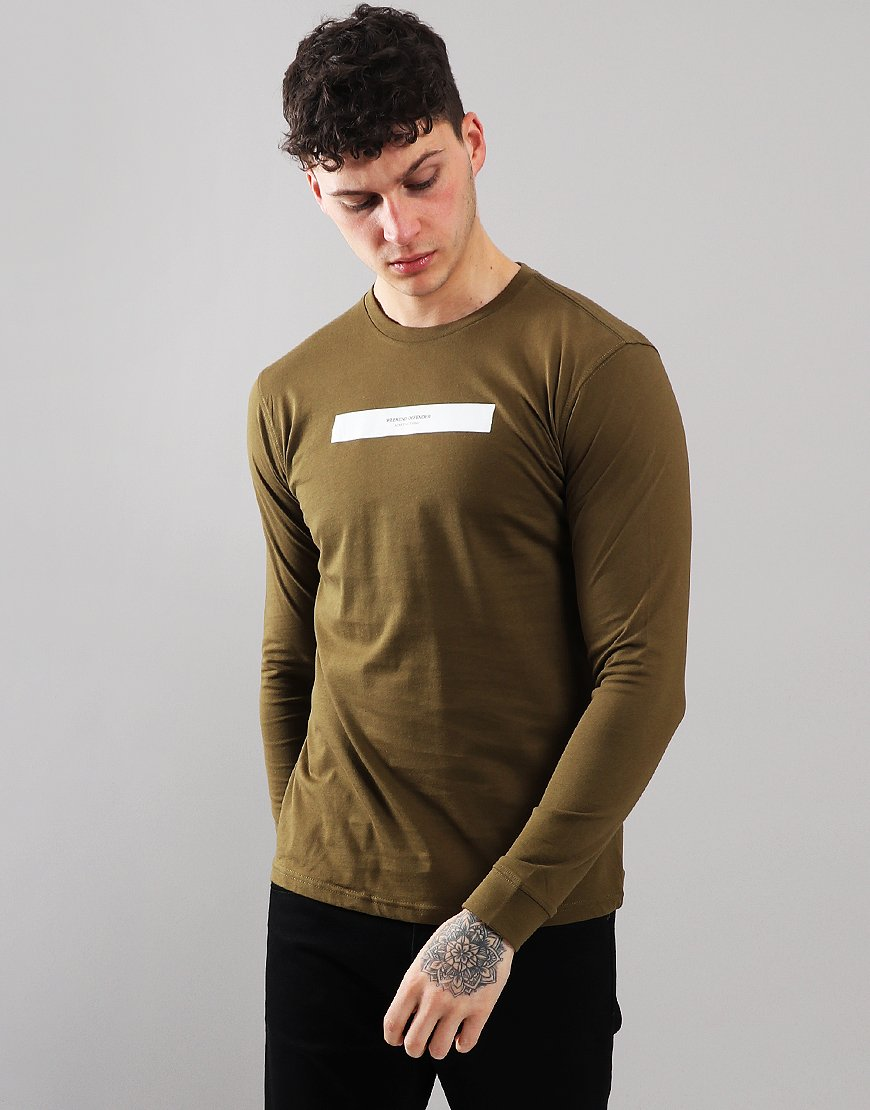73c27147f36b Weekend Offender Aquati Long Sleeve Dark Khaki - Terraces Menswear