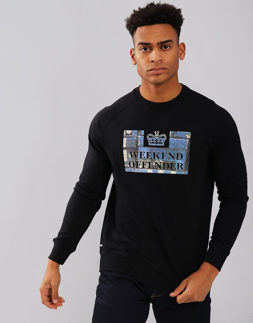 Weekend Offender Boxes Crew Sweat Black