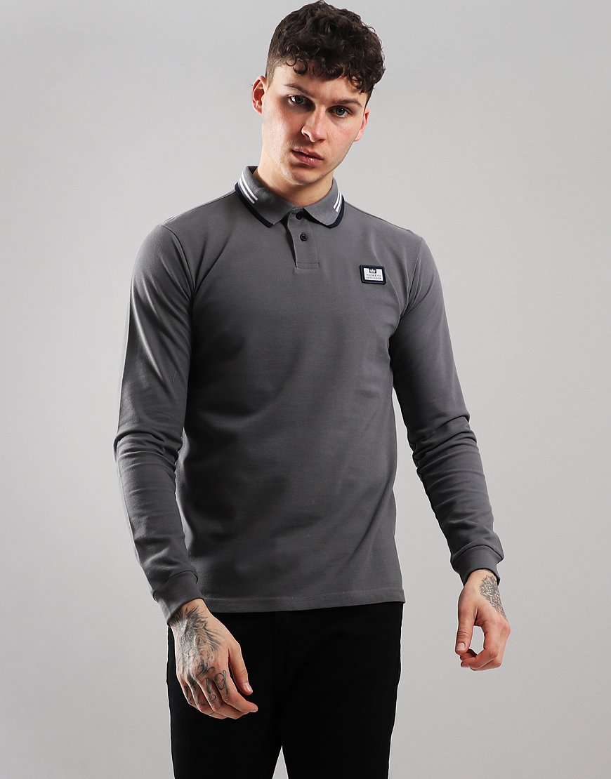 Weekend Offender Fevre Long Sleeve Polo Shirt Charcoal