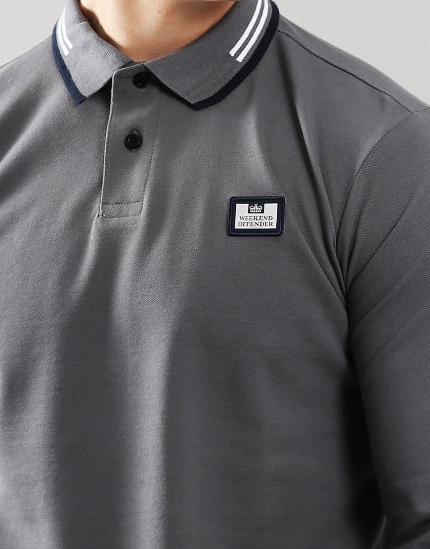 5fa1adb8 Weekend Offender Fevre Long Sleeve Polo Shirt Charcoal - Terraces ...