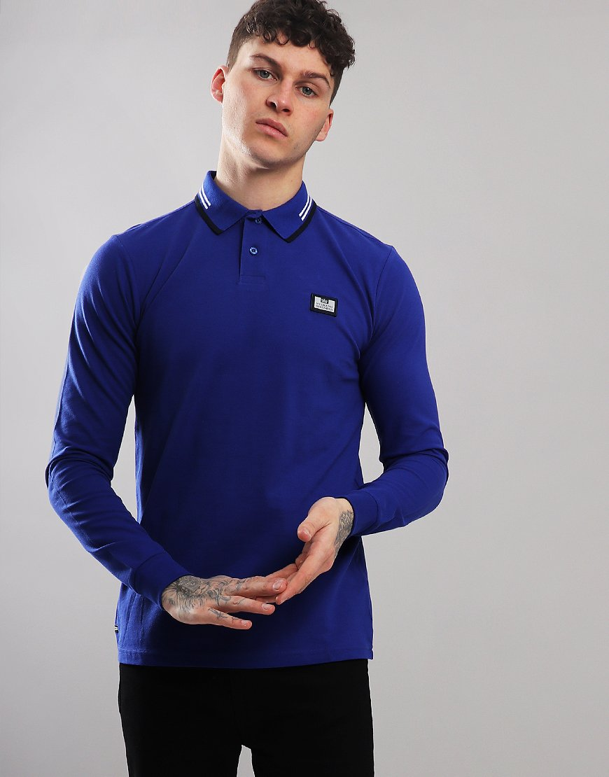 Weekend Offender Fevre Long Sleeve Polo Shirt Electric