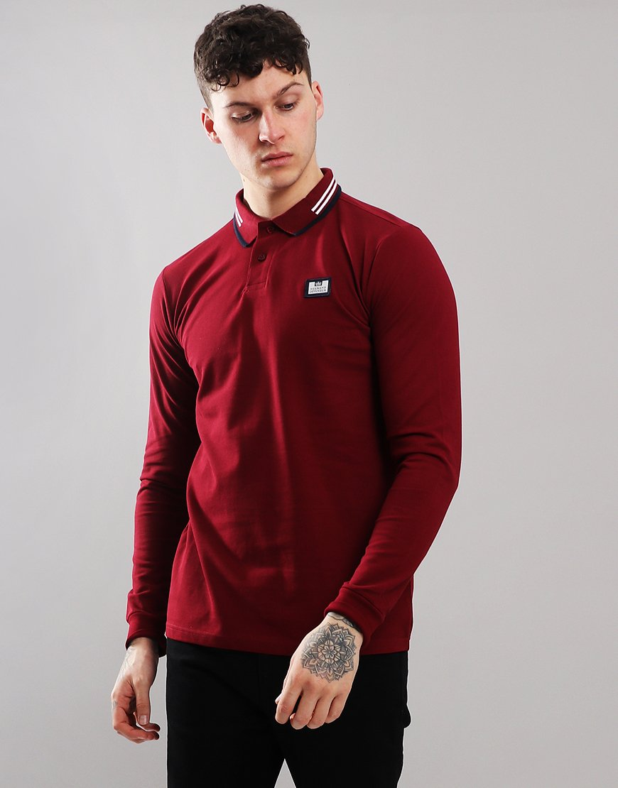Weekend Offender Fevre Long Sleeve Polo Shirt Garnet