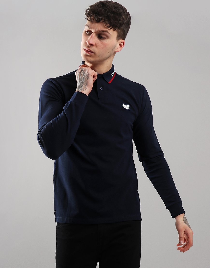 Weekend Offender Fevre Long Sleeve Polo Shirt Navy