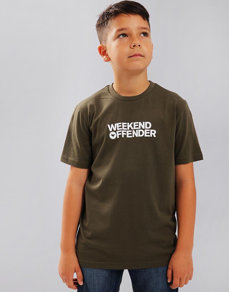 Weekend Offender Kids Dove Font T-Shirt Khaki