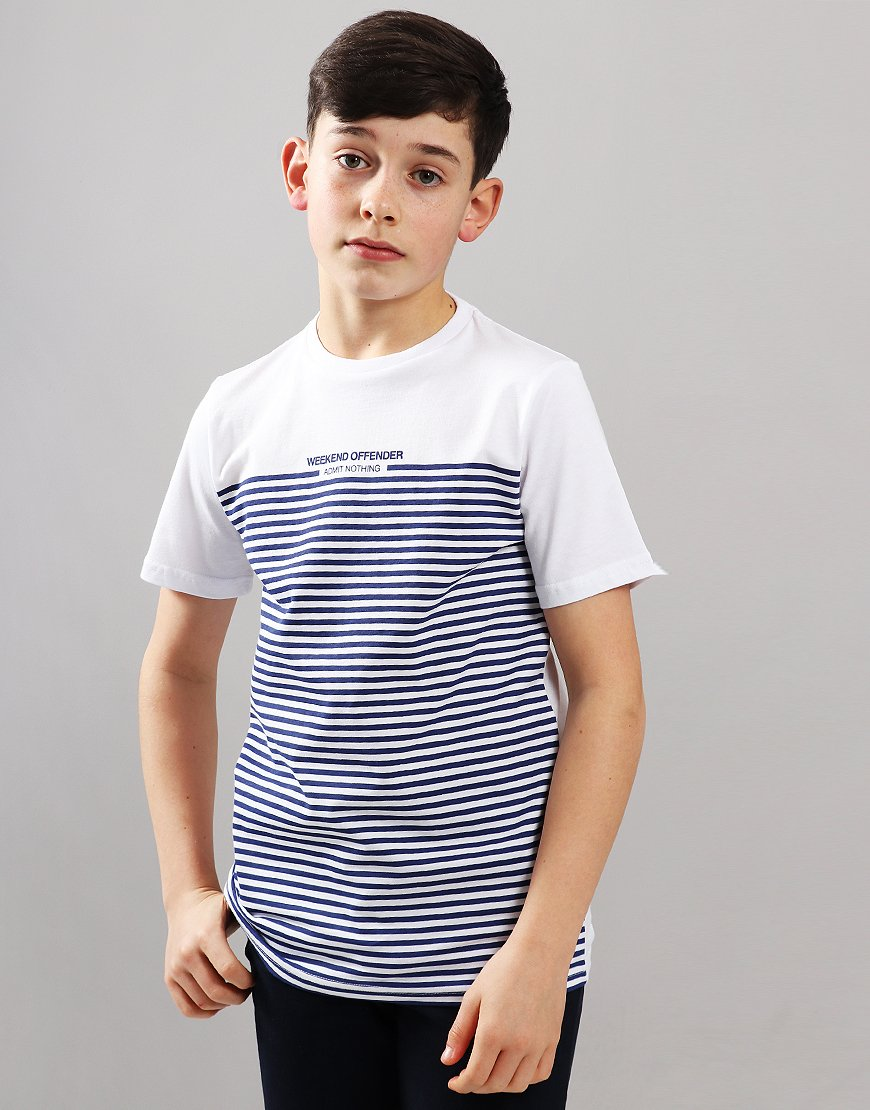 Weekend Offender Kids Half Stripe T-Shirt White